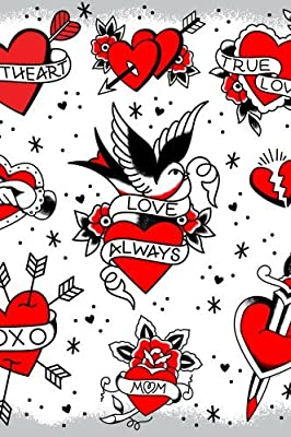 Sourpuss Tattooed Hearts Shower Curtain