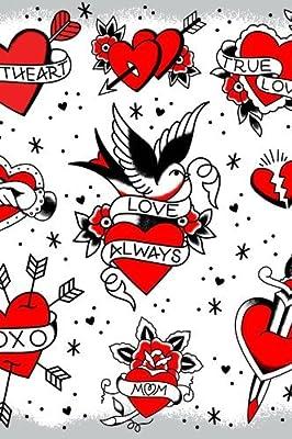 Sourpuss Tattooed Hearts Shower Curtain