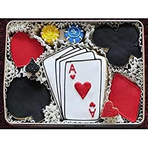 Poker Decorated Sugar Cookie Gift Tin