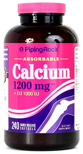 High Absorption Calcium 1200 Mg + Vitamin D3 1000 Iu (Per Serving) 240 Quick Release Liquid Filled Softgels; Highly Bioavailable; By Piping Rock Health Products; Made In Usa