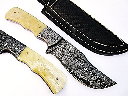 Mountain Boys Hunting Knife Damascus Steel Blade and Bolsters Bone Handle