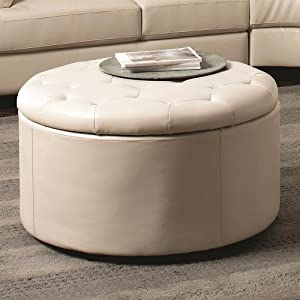 Chelsea Storage Ottoman Color Cream Cream Leather Ottoman