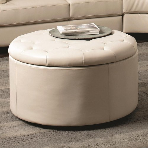 Round Leather Storage Ottoman with Button-Tufted Seat in Cream by Coaster