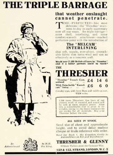 1918-ad-triple-barrage-thresher-glenny-london-rain-coat-jacket-melcam-lining-man-original-print-ad