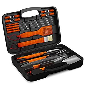 18PCS BBQ Grill Accessories Tool Set - Stainless Steel Utensils with Storage Case - Barbecue Gift Idea for Dad