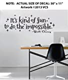 It's Kind of Fun to Do the Impossible Wall Décor Sticker Vinyl Decal - Walt Disney Quote - 30 x 11