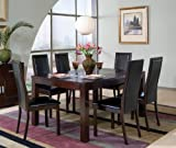 7pc Dining Table & Chairs Set Black Cappuccino Finish