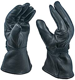 Black Gauntlet Deerskin Motorcycle Glove with Thinsulate Lining, Size Large