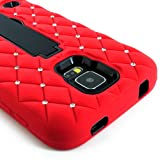 myLife (TM) Vibrant Laser Red and Electric Midnight Black - Diamond Shock Suit Survivor Series (Built in Kickstand + Easy Grip Silicone) 3 Piece + 2 Layer Case for NEW Galaxy S5 (5g) Smartphone By Samsung (External Flex Silicone Bumper Gel + Internal 2 Piece Rubberized Snap Fitted Armor Protector + Shock Absorbing Material)