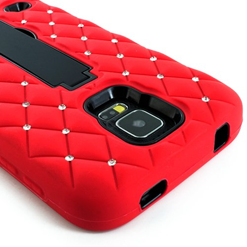 Mylife (Tm) Vibrant Laser Red And Electric Midnight Black - Diamond Shock Suit Survivor Series (Built In Kickstand + Easy Grip Silicone) 3 Piece + 2 Layer Case For New Galaxy S5 (5G) Smartphone By Samsung (External Flex Silicone Bumper Gel + Internal 2 Pi