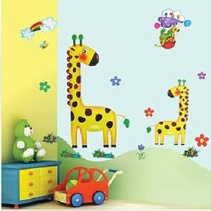 Rimovibile cartoon giraffe autoadesivo della parete della for Decorazione stanza bambini