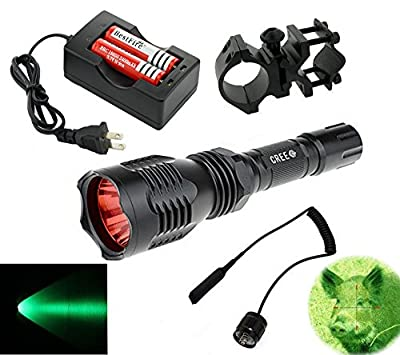 BestFire® Portable HS-802 350 Lumens Cree led Tactical Flashlight 250 Yard Long Range Hunting Light Cree LED Light Coyote Hog Hunting Light Torch with Remote Pressure Switch Barrel Mount 18650 Rechargeable battery and Charger Perfect for Hunting Fishing