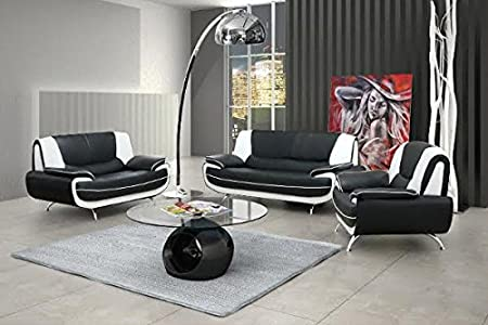 PALMA white and black faux leather sofa suite armchair sofa couch living room soft furniture set couches sofas