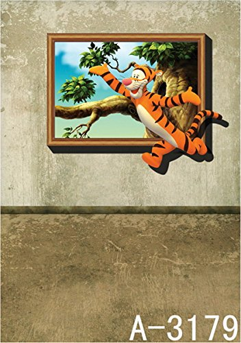 6.5 Ft*5 Ft (200cm*150cm) Tiger Jumping Home 3D Backgrounds Studio 3D Baby Backdrop Studio K-3179