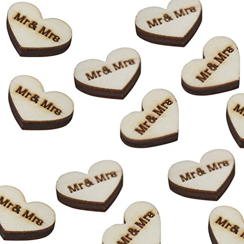 Ginger Ray Vintage Affair Mr. & Mrs. Wooden Heart Rustic Table Party Confetti Scatter, Brown