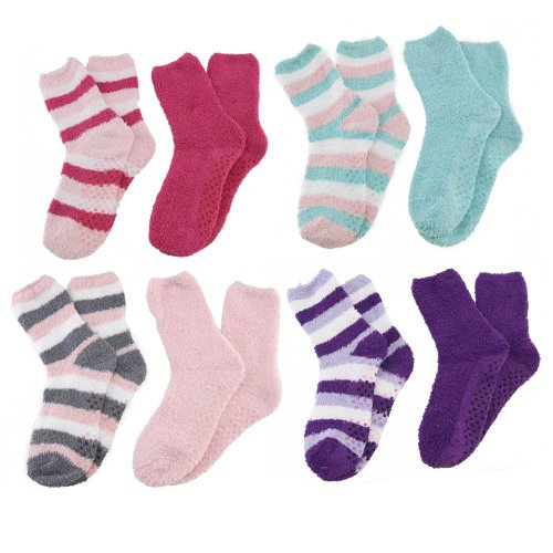 Super Soft Warm Microfiber Fun Fuzzy Comfy Home Socks – Assortment 99 – 8 Pairs – Value Pack