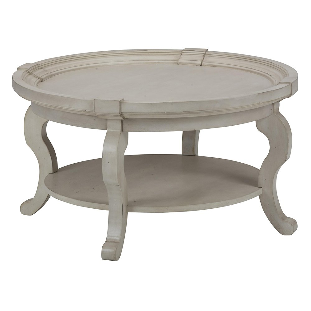 Antique Round Leather Top Coffee Table: Jofran Sebastian Round Coffee Table In Antique Cream