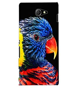 ColourCraft Beautiful Parrot Design Back Case Cover for SONY XPERIA M2