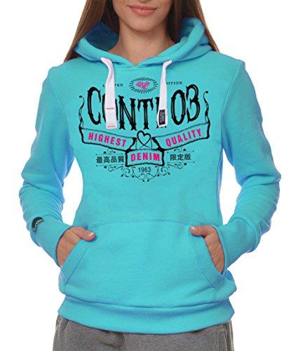 M.Conte Women Sweat-Shirt hooded Felpa da Donna con Cappuccio Modello Rihana acqua blu M