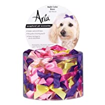 Aria Satin Acetate Ribbon Multicolor Dog Bows Canister 3/8-Inch 100-Pack