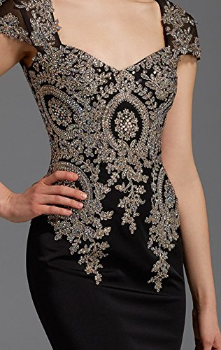 Rongstore women`s Beaded Lace Little Black Special Occasion Dresses US12 Black