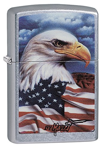 Zippo Mazzi Bald Eagle with Flag Pocket Lighter, Street Chrome