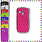 For Samsung Galaxy SIII S3 Mini i8190 Silver Chrome Diamond Bling Sparkle Diamante Shiny Hard mobile Phone Case Cover S 3 s111 By BinaryTech (Hot Pink)