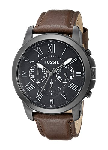 Fossil Men's FS4885 Grant Stainless Steel Watch with Brown Leather Band