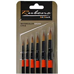 Rubens Watercolor Long Handle Round Art Brush 6 Piece Set