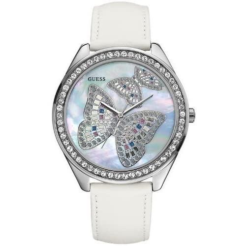GUESS Butterfly White Leather Ladies Watch U95185L1