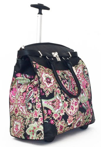 Trendy Flyer Computer/Laptop Rolling Bag 2 Wheel Case Paisley