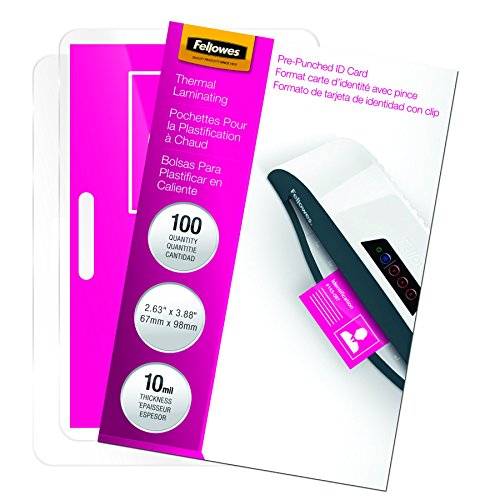 "Fellowes, Inc Laminated Business Pouches,Glossy,3-7/8""X2-5/8"