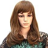 Hsg Elegant Lady Dark Brown Long Wigs Fluffy Shoulder Length Wig Curly Wavy Wigs With Oblique Bangs Jfg007