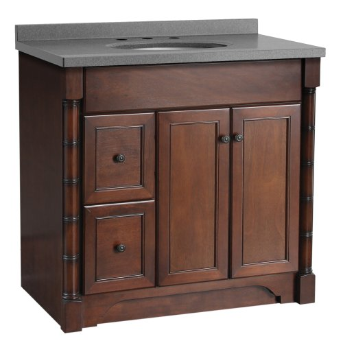 Foremost ESNAT3621DL-8CG Estlin 37-Inch  Vanity, Left Drawers and Coastal Grey Granulite Combo