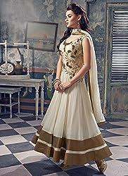 White and golden anarkali dress material
