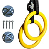 Kovas Gymnastic Rings with Adjustable Straps & Ring Mounts - Home Gym Gymnastics Equipment - Improve Fitness Strength & Balance with Body Weight Training Exercises (Color: Yellow)