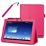 BIRUGEAR Hot Pink SlimBook Leather Folio Stand Case Cover with Stylus for Asus Memo Pad FHD 10 ME302C - 10.1' Full HD IPS Display Tablet