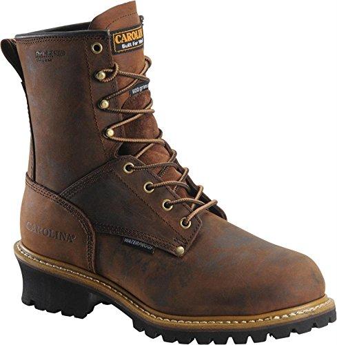 Carolina Men'S 8 Inch Waterproof Plain Toe Ins Logger Copper Crazyhorse Leather 14 4E Us