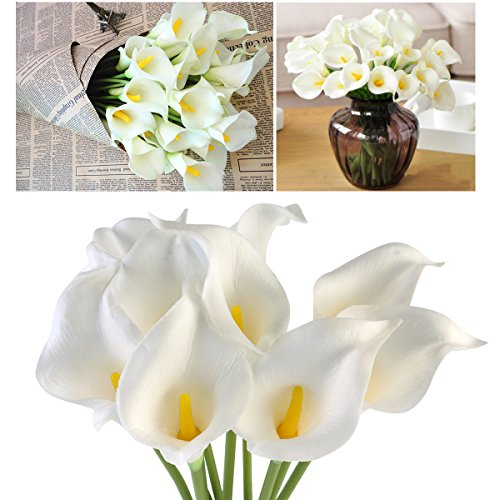 Oulii Artificial Flowers Nearly Natural Lily Bridal Wedding Bouquet-10pcs
