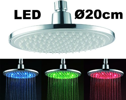 Runde LED Regendusche mit Farbwechsel Kein Stromanschluss notwendig. Sanlingo