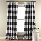 Lush Decor Stripe Blackout Window Curtain, 84 by 52-Inch, Gray, Set of 2