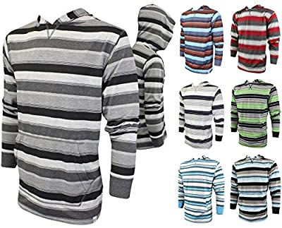 Enimay Men's Athletic Fit Hoodie Striped Pullover Sweater Front Pouch (Many Colors)