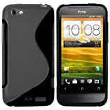 Mumbi TPU Silicone Protective Phone Case for HTC One V Black