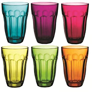 Baroque Coloured Tumbler Glasses 6 Piece set - Blue, Purple, Pink, Yellow, Green, Orange - 230ml - 7.75oz