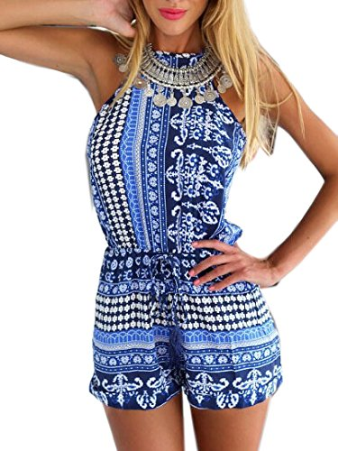Choies Women's Polyester Blue Cut out back Bohemian Casual Loose Romper Playsuit M