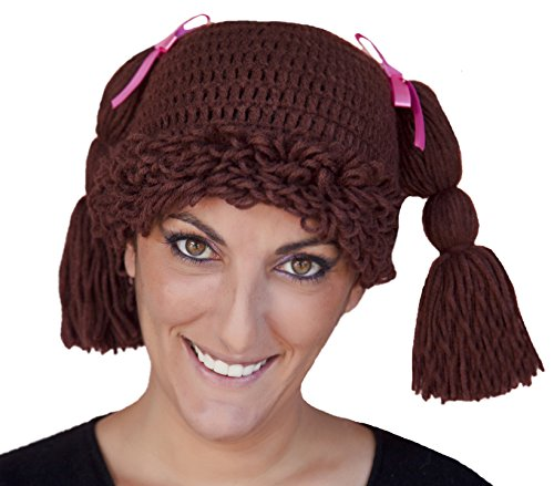 Adult Women'S Doll Baby Halloween Costume Hat And Wig (Brunette) front-924177