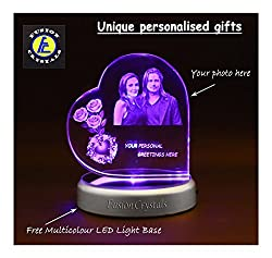 Fusion Crystal Personalized Heart Shaped Engraved 3D Crystal with LED Base Light