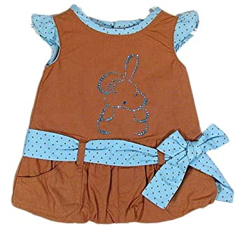 "TUTTO PICCOLO ""Sky Rabbit"" baby girls dress polka dots with rhinestone (brown/turquoise)"