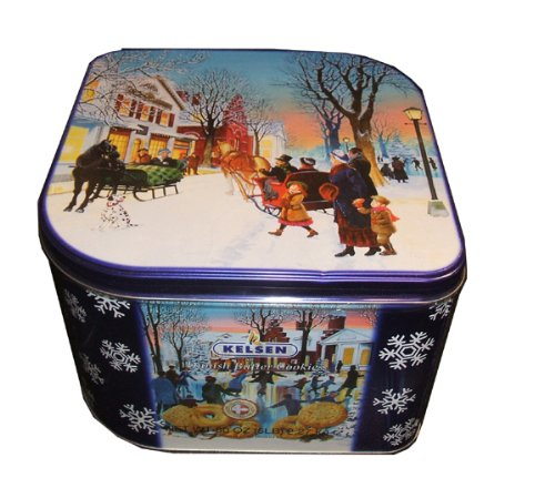 Kelsen Original Danish Butter Cookies 5 Pounds (2.27 Kg) Gift Tin Biscuits with Ice-skating Art Work