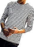 (ワイルドカクタス) メンズ ボーダー ロング tシャツ 長袖 オールシーズン ストライプ 柄 ロンT (01 白黒 M)